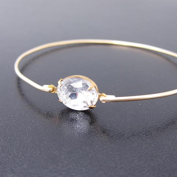 Rhinestone Bangle Bracelet, Katja, Gold Rhinestone Bracelet, Clear Rhinestone Jewelry, Rhinestone Wedding Jewelry, Rhinestone Bridal Jewelry