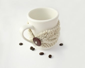 Cup cozy oatmeal mug cosy off white chocolate brown Christmas gift for friend hand knit reusable cup cosy