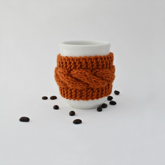 Reusable cup cozy mug cozy caramel coffee cup cozy cable knit gift for friend Thanksgiving Christmas gift under 15 stocking stuffer
