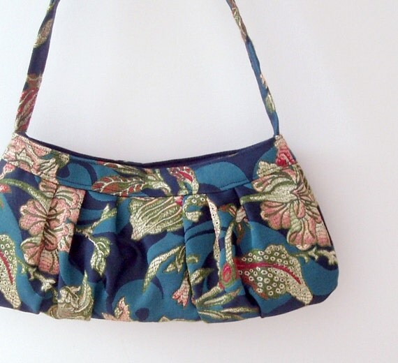 RESERVED bag in recycled floral brocade. Italian upholstery fabric in blue, peach and green