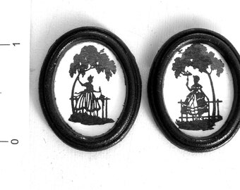 sale 2 VICTORIAN SILHOUETTES Handmade dolls house miniature PICTURES 12th scale
