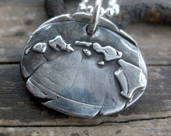 Hawaiian islands silver pendant