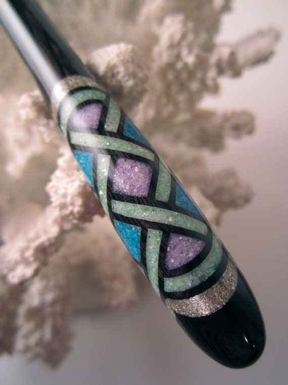 "The ""Petite"" Multi-Colored Celtic Knot Hair Stick African Blackwood Inlaid with Lavender/Turquoise/Mint Green FWP's and Silver"