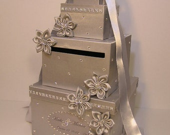 Wedding Card Box Silver Gift Card Box Money Box Holder--Customize your color