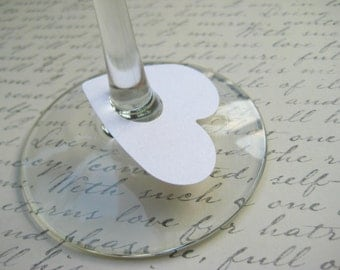 100 Wedding White Paper Wine Glass Tags, Wedding Wine Tag