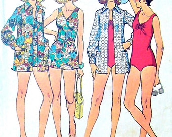 70s Bathing-Suits and Cover-Up Vintage Sewing Pattern Simplicity 6356 Bust 36""