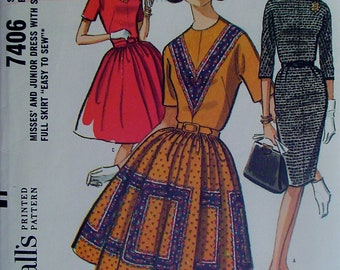 60s Slim Dress and Full Skirt Dress Vintage Sewing Pattern, McCall's 7406 Size 12, Bust 32