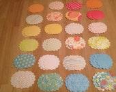 72 Round Scallop Citrus Glitter Patterns Textured Tags  2 inch