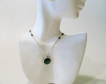 Emerald Green Crystal Necklace, Swarovski crystals, May birthstone necklace, emerald necklace, emerald crystals, dark green necklace