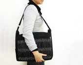 Black Smocked Messenger Bag - Unisex