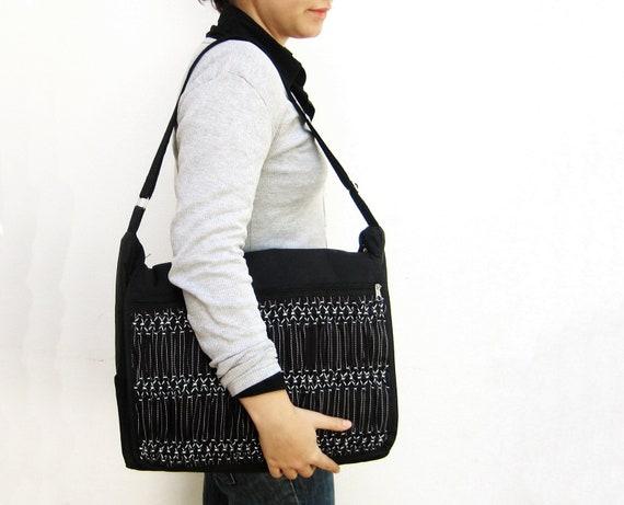 Black Smocked Messenger Bag - Unisex