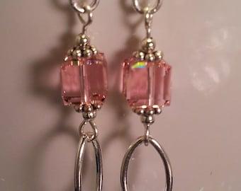 Pink Swarovski Crystal Earrings II