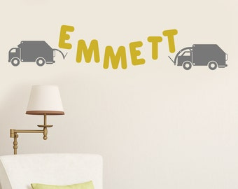 CUSTOM NAME Trucks and Letter GARBAGE Truck Vinyl Sticker Decal Original Graphic by DECOmod Walls