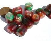 Vintage W. German - Lucite Cylindric Red and Green Marbled Beads - MI463