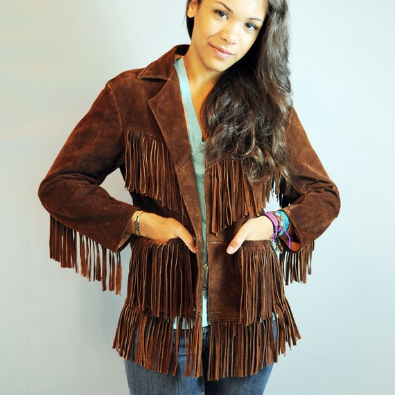 70s Vintage FRINGE LEATHER hippie jacket / womens bohemian leather fringe jacket XS / S