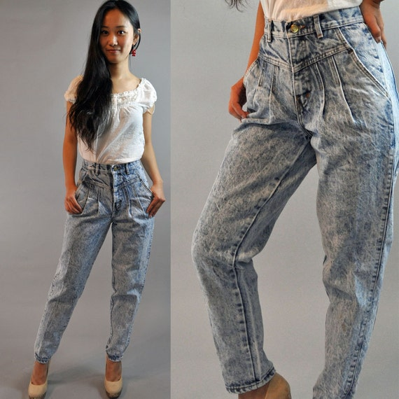 80s vintage high waisted jeans / ACID WASH by rockstreetvintage