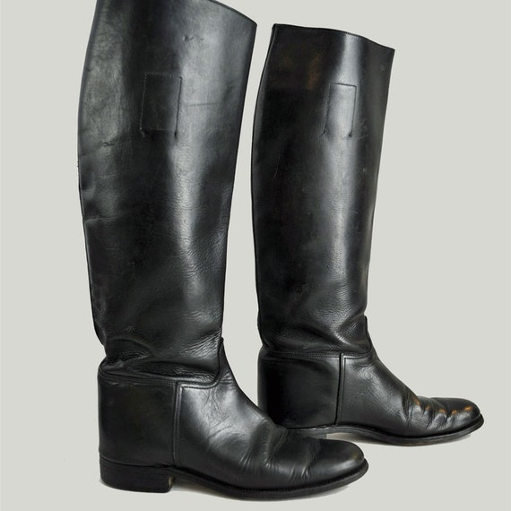 vintage 70s riding boots / Marlborough Black Leather ENGLISH