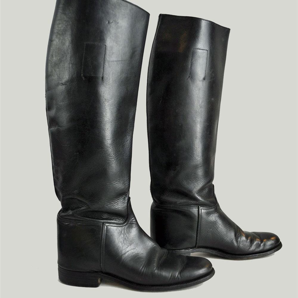 Vintage 70s Riding Boots Marlborough Black Leather English