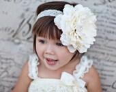 Large Flower Headband, Baby Headband, Ivory, Brown, Red, Photography Prop, Hard Headband, Lace Headband, Flower Clip