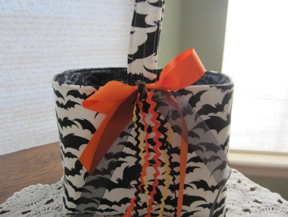 Reversible Organizer Fabric Halloween Black Bats basket Bin storage