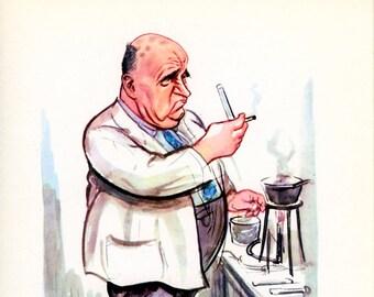 1956, Dr. J. D. Benjafield, Racing Drivers Vintage Print 5, Humorous Portrait Caricature, Sallon, British Motor Industry