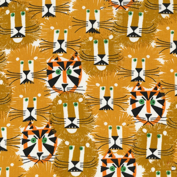 Lions and Tigers from Happy Drawing - Cloud9 Organic fabrics  - Half Yard