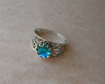abalone shell filigree silver Miracle ring