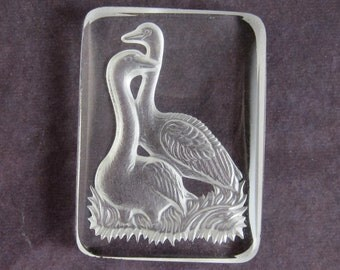 Vintage Glass Cameo Swan 34x25 mm Clear Cameo Intaglio Vintage Cabochon S-102