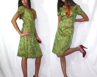 Vintage dress green orange short sleeve sequence floral S M 50's 60's