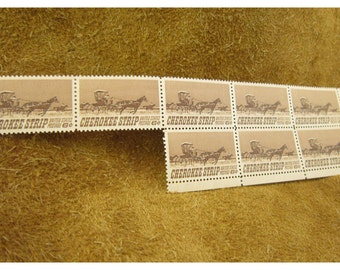 1968 Cherokee Strip  6 Cent Vintage US Postage Stamp - 8 Stamps