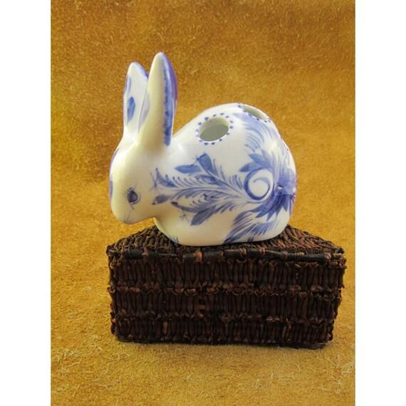 Amigurumi Bunny Pencil Holder : Delft blue rabbit vintage pencil holder and by