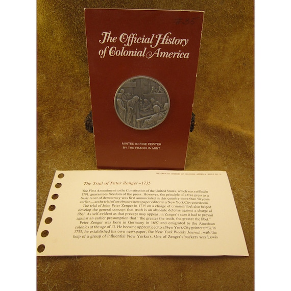 The Trial of Peter Zenger - 1735 - Official History of Colonial America Pewter Medal by The Franklin Mint