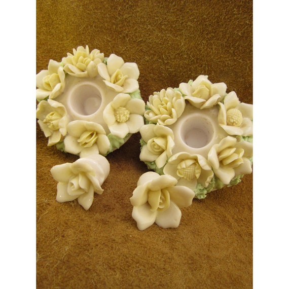 Antique Porcelain Flower Basket Candle Holders for Taper Candles with Removable Flower Plugs – Vintage Taper Candleholders