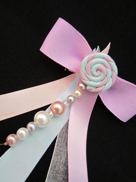 Kawaii Pastel Candy Ribbon Barrette - Fairy Kei - Sweet Lolita