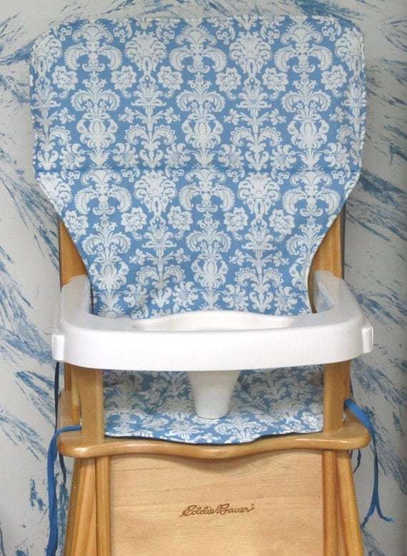 Eddie bauer jenny lind wood high chair cover pad antique blue damask