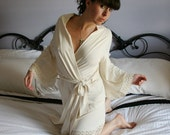 organic bamboo robe with cotton eyelet lace trim - made to order