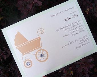 Baby shower invitation, carraige invitation, green, brown baby invitaiton, pram invitation, vinage shower invitation, gem baby shower