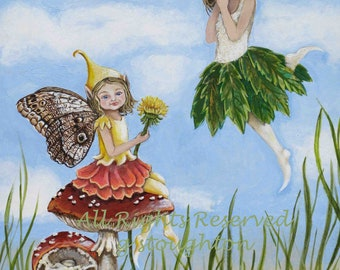 Fairy Children in the Meadow   (8.5 X 11 Print of Original Painting)