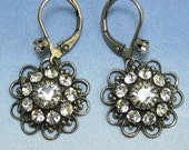 Clear Swarovski Crystal Flower Earrings with Antique Silver Earwires