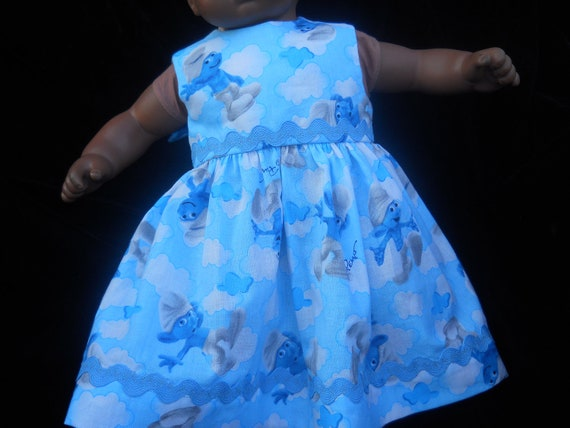 Smurf Dress for American Girl Dolls  or Bitty Baby