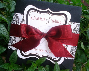 SLIGHTLY SANGRIA Red, Black and White Damask Square Wedding Invitation Sample