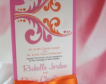 Mon Chérie Fuchsia and Orange Hand Cut Wedding Invitation Set... Sample