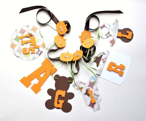 Country baby shower decorations it's a girl banner in orange and brown by ParkersPrints on Etsy