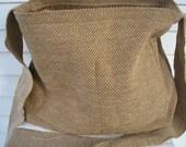 Brown Herringbone Messenger Bag