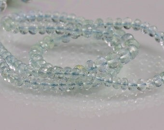 Sale -AAA Aquamarine Rondelles Micro Facted Aquamarine Rondel Beads