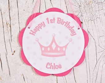 Princess Crown Door Sign - Princess Birthday Party Decoration - Party Princess Theme in Hot & Light Pink 1st Girl birthday