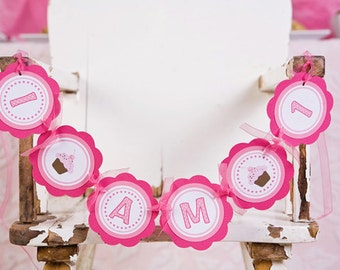 Cupcake Themed Birthday Party Sign - I am 1 MINI BANNER in Hot & Light Pink - Cupcake Birthday Party Decorations - Smash Cake Sign