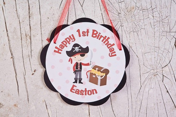 Pirate Themed Happy Birthday Party Sign Door Hanger