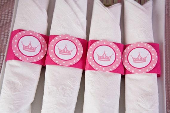 Princess Birthday Party - Napkin Rings - Silverware Wraps - Princess Party Decorations and Baby Shower Decorations in Hot & Light Pink (12)
