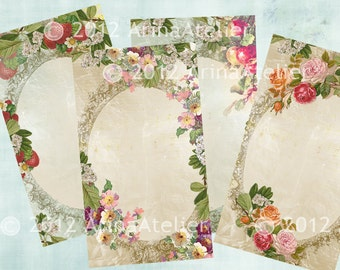 Vintage Fruits and Flowers Tags - Cards - Digital Collage Sheet - Printable download
